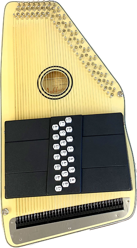 Ashbury 21 Bar Electro Autoharp Solid spruce top, pick-up with tone and volume controls, .