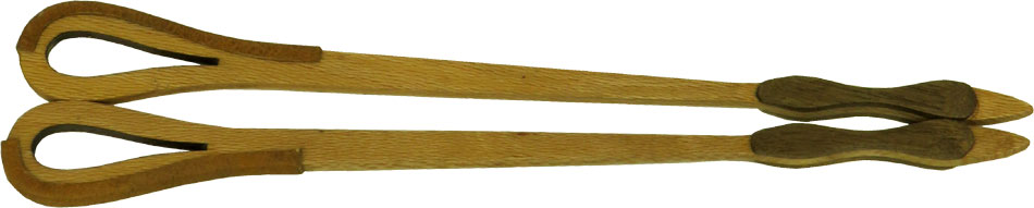 Atlas Dulcimer Hammers, Tear Drop Pair of double sided lacewood hammers with leather ends