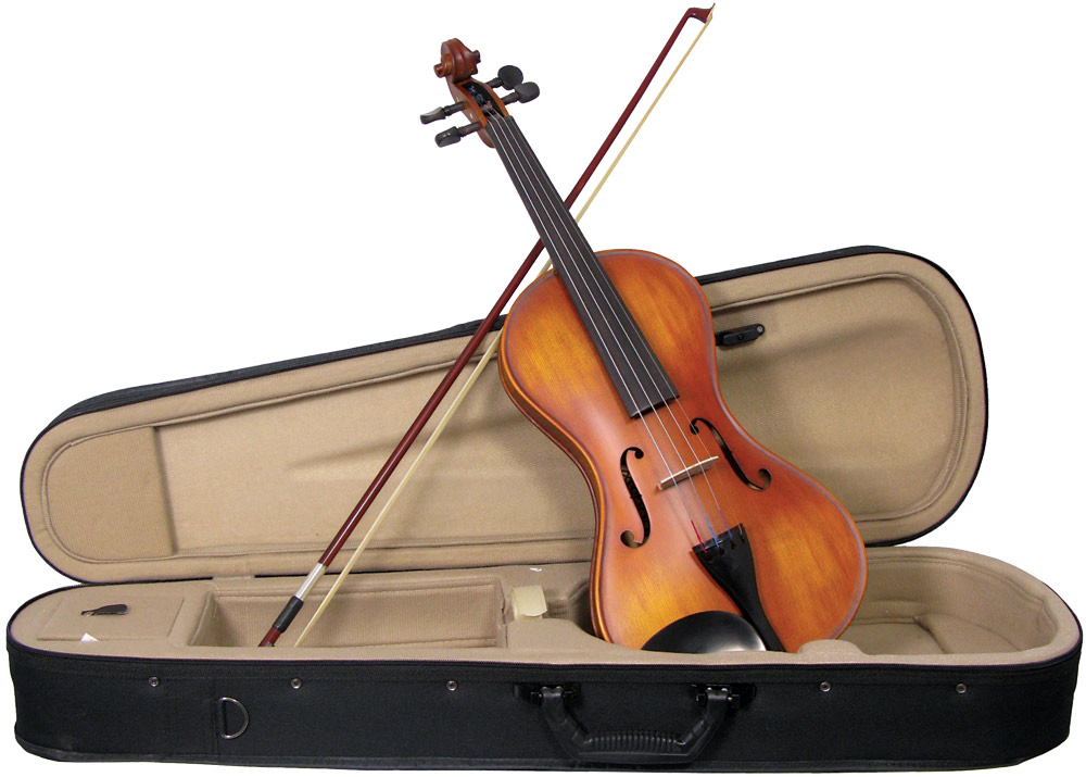 Valentino Full Size Smooth Violin outfit Cornerless violin, solid spruce top, flamed maple body, ebony fingerboard