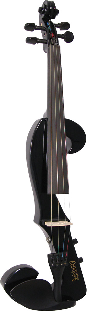 Valentino Electric F Shape Violin, Black Solid F wood shaped electric violin with volume and tone controls