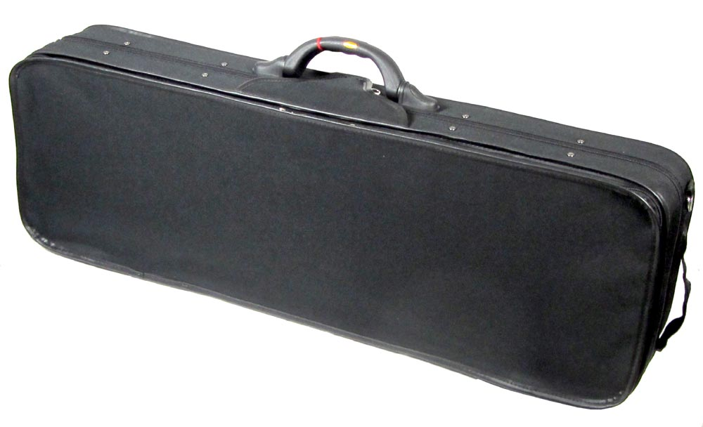 Viking Full Size Oblong Violin Case Black cover, foam, red interior, 2 bow spaces. external pocket. 4/4