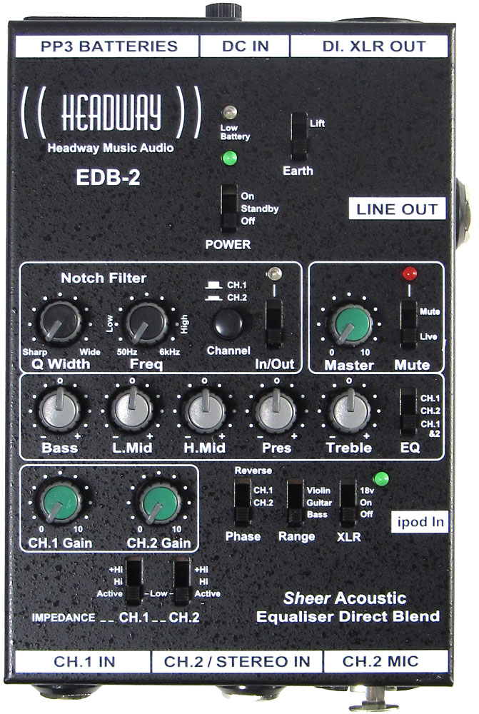 Headway EQ box for Guitar etc. two channels, 5 band interactive EQ, Tuneable notch filter
