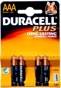 Duracell Plus, AAA, 4 pack Model MN2400-LR03, made in EC