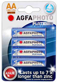 Agfaphoto AA Batteries. 4 Pack Model LR6 1.5v MN1500.