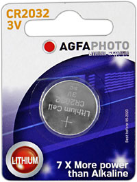 Agfaphoto C2032 Coin Battery CR2032, 3 volt. Ideal for the our clip on tuners.