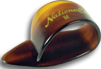 National Faux-Tortoise Med Thumbpick. S A single medium faux-tortoise shell thumbpick.