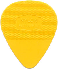 Herdim Yellow Nylon Pick, Pack of 10 Thin gauge quality Nylon guitar pick. Stamped with Germany