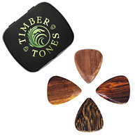 Timber Tones Mixed Gift Tin of 4 Wood Picks Acoustic set containing: Mimosa, Thai Cassia, Almond Wood & Burma Padauk.