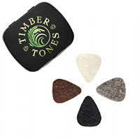 Timber Tones Mixed Gift Tin of 4 Felt Picks Natural, Grey, Black and Brown mini plectrums. Ideal for ukulele & bass guitar.