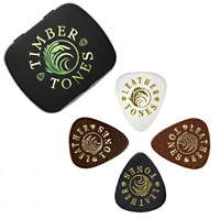 Timber Tones Mixed Gift Tin of 4 Lthr Picks Leather. Black, brown, white and tan picks. Ideal for ukulele & bass guitar.