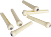Golden Gate Cream Bridge Pins, Abalone Dot Set of 6 Ivory coloured plastic bridge pins with abalone dot. Acoustic guitar