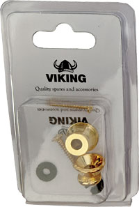 Viking Gold Colour Strap Buttons, Pair A pair of gold coloured strap buttons for Uke, Bouzouki, Mandolin etc.
