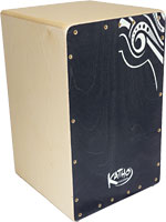 Katho Etniko Cajon, Black Faceplate 100% Birch wood with Polyurethane varnish. 4 Parallel tuneable strings