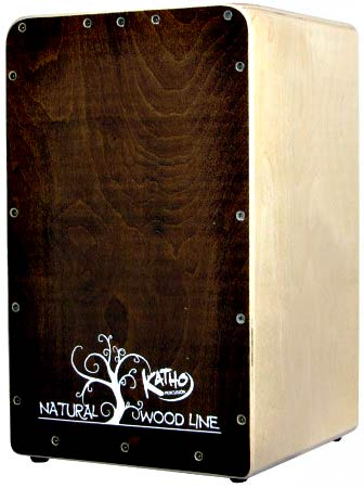 Katho Woodline Cajon, Walnut Finish Birch wood frontplate varnished with a translucent Walnut finish