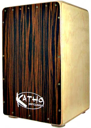 Katho Ebano Cajon, Black Beech Front 10mm Birchwood body, 7mm wenge back plate, beech plate, 17mm sound hole.