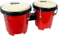 Atlas Fun Size Bongos, Red 15cm & 13cm diameter heads, tuneable, great for kids