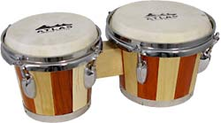 Atlas Tuneable Bongos, Two Tone Wood Contrasting two tone wooden shell.
