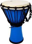 Atlas Mini Fibreglass Djembe, Blue 18cm head, stands 32cm high. Black rope tension system