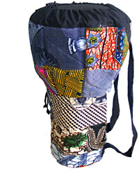 Viking Djembe Bag for 10inch Handmade bag with a blue coloured Baliku pattern. 50cm high
