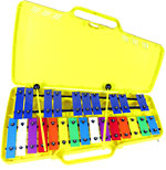 Atlas 2 Octave Glockenspiel G to G, 27 multi coloured metal bars, fully chromatic, with beaters and case