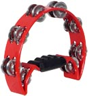 Atlas Half Moon Tambourine, Red Red. Sturdy Tambourine with a chunky plastic handle