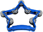 Atlas Star Tambourine, Blue Sturdy Tambourine with a chunky plastic handle