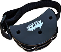 Atlas Foot Tambourine, 4 Jingle Pairs Attaches the foot (or any limb) with an adjustable velcro strap