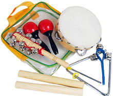 Atlas Small Percussion Pack Ideal 6 piece set inc Claves, tamb., triangle, maracas, jingle stick, bell strap