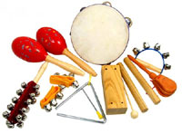 Atlas Large Percussion Pack 10 pieces, as GR19092 + wood block, castanets, larger tamb, triangle and maracas