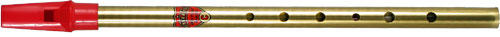 Generation Brass C Whistle Tin whistle with a red plastic mouthpiece.