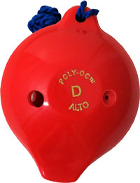 Polyoc 6 Hole Ocarina, Red Made from ABS plastic. The 6 hole model plays an octave from Low D to High E