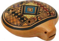Atlas Inca Ocarina from Peru 8 hole pottery ocarina with a colourful design
