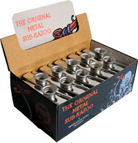 Generation Box of Sub Metal Kazoos, Silver Counter display pack of 30 Silver coloured Sub metal Kazoos