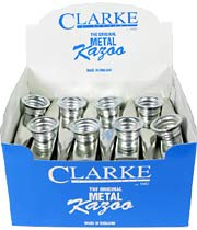 Clarke Metal Kazoo, Box of 24 Silver coloured, good quality.