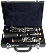 Valentino Student Bb Clarinet, ABS ABS bodied instrument with black wood-grain effect finish.