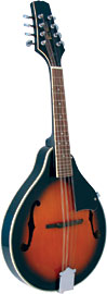 Blue Moon A Style Mandolin with F Holes Teardrop shaped body, arch top, F soundholes, sunburst finish. Adjustable bridge