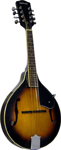 Ashbury A Style Mandolin, Sunburst Spruce top, mahogany body. f-hole model, brown sunburst finish..