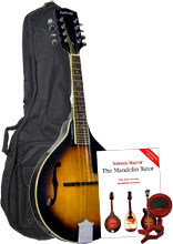 Ashbury A Style Mandolin, S/B Pack Includes bag, clip on tuner, picks and tutor book