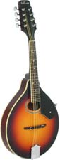 Ashbury A Style Mandolin, Tobacco S/B Solid spruce top, maple body with oval soundhole. Tobacco sunburst.