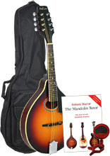 Ashbury A Style Mandolin, TOSB Pack Includes bag, clip on tuner, picks and tutor book