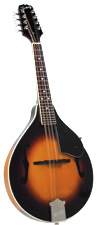 Kentucky A Style Mandolin, Sunburst A-style body with F soundholes. Solid carved Sitka spruce top.