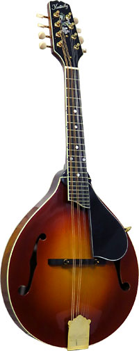 Kentucky A Style Mandolin, Amberburst A-style body with F soundholes. Solid carved Sitka spruce top.