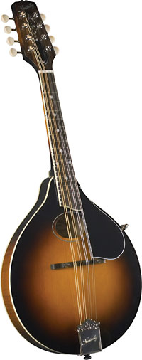 Kentucky A Style Mandolin, Sunburst A style with oval sound hole. Solid carved German spruce top