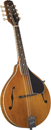 Kentucky A Style Mandolin, Amber A style with F sound hole. Solid carved German spruce top