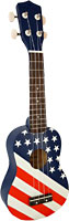 Blue Moon USA Flag Design Soprano Uke Good quality, very playable Uke. Lindenwood fingerboard and bridge. Nickel frets