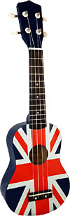 Blue Moon Union Jack Soprano Ukulele Good quality, very playable Uke. Lindenwood fingerboard and bridge. Nickel frets