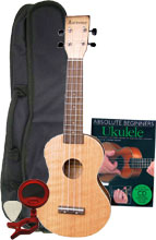 Ashbury Soprano Uke, Flamed Oak Pack Includes bag, clip on tuner, felt pick and tutor book