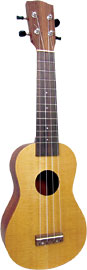 Ashbury Soprano Ukulele, Spruce Top Spruce top, sapele back and sides. Hardwood fingerboard and bridge.
