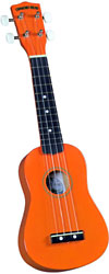 Diamond Head Soprano Ukulele, Orange Soprano ukulele with maple body and painted fingerboard and bridge
