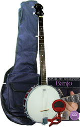 Blue Moon Openback 5 String Banjo Pack Includes bag, tuner, finger and thumb picks, tutor book